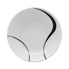 Plato Hondo blanco y negro 6 uds