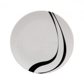 Plato Postre blanco y negro 6 uds