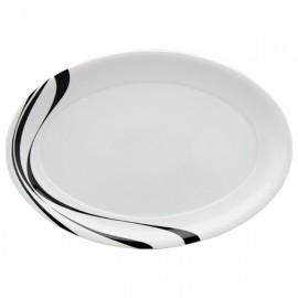 Fuente Oval Vajilla L blanco y negro