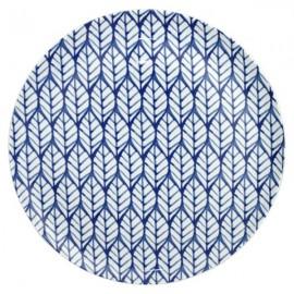 Plato Bajo blanco y azul 6 uds