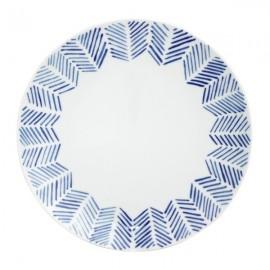 Plato Llano blanco y azul 6 uds