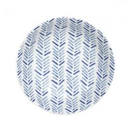 Plato Hondo blanco y azul 6 uds