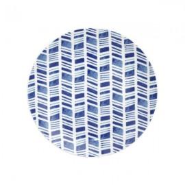 Plato Postre 3 blanco y azul 6 uds