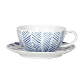 Taza de Te con Plato blanco y azul 6 uds